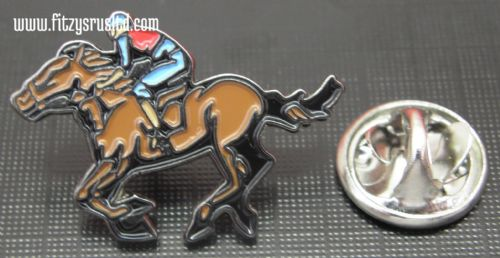 Jockey & Horse Racing Enamel Lapel / Hat / Tie Pin Badge Race Sporting Brooch